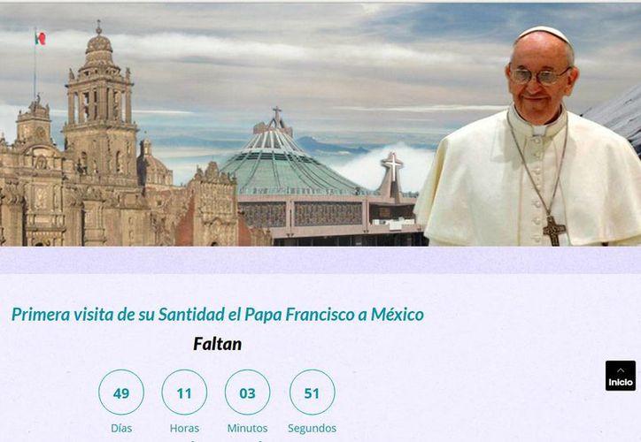 Detalle de una captura de pantalla del sitio web de la Arquidiócesis de México, en donde se colocó la cuenta regresiva para la llegada del papa Francisco a México. ( ww.arquidiocesismexico.org.mx)