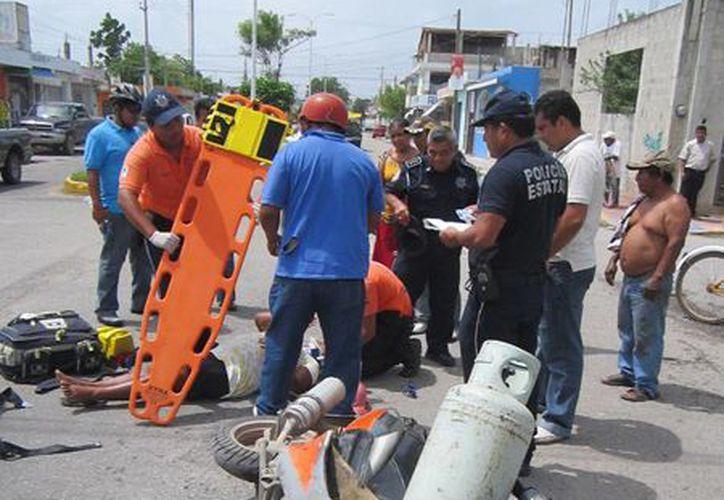 La semana pasada, un motociclista fue impactado por un vehículo en la capital. (Harold Alcocer/SIPSE)