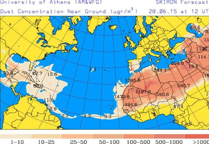 Mapa que muestra la 'ruta' del polvo del Sahara que ya cubre la Península de Yucatán. (Twitter: @ClimaYucatan)