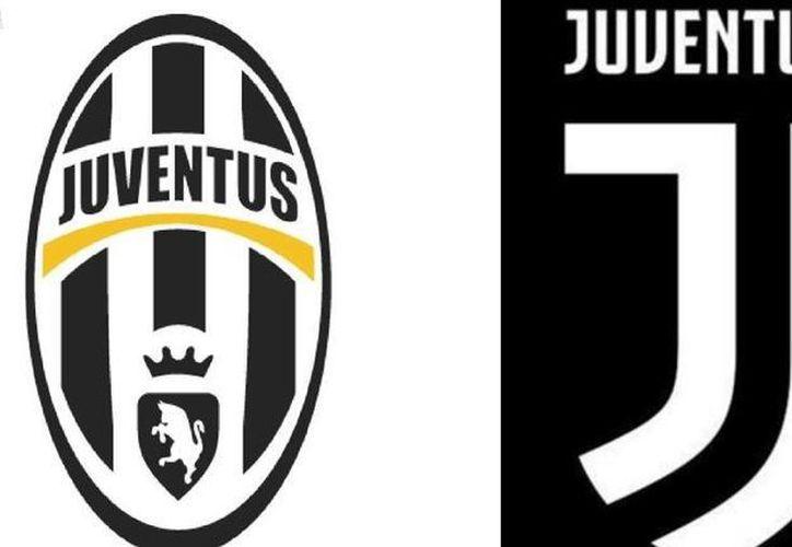 En esta composición se aprecia el actual escudo de la Juventus de Turín (i) y el que utilizará dentro de unos meses. (Foto tomada de mundodeportivo.com)