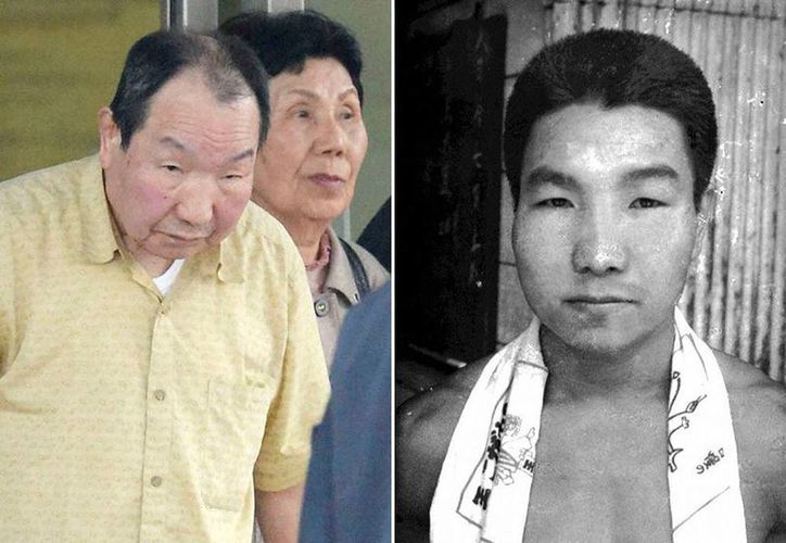 Foto de Iwao Hakamada a su salida de la cárcel (izquierda) y a la derecha una foto de 1968. (Reuters)