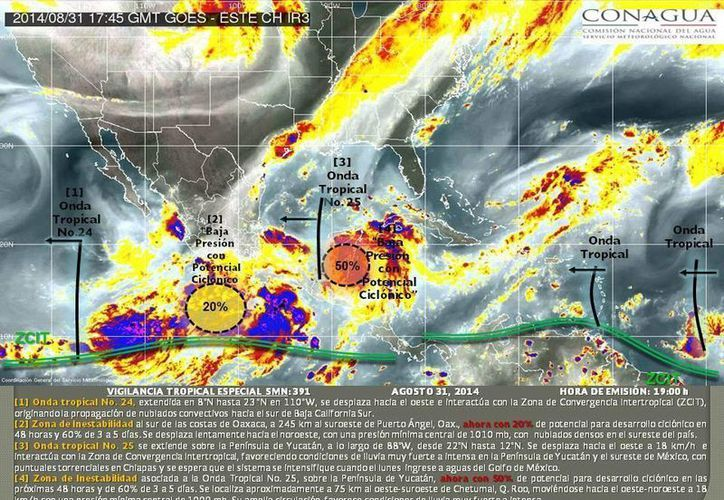 Dos fenómenos climatológicos afectan los litorales de México, tanto del lado del Atlántico como del Pacífico. (@conagua_clima)