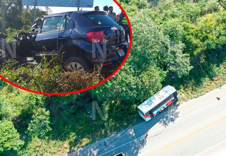 Choque en la vía Mérida-Tetiz.(Foto: Novedades Yucatán)