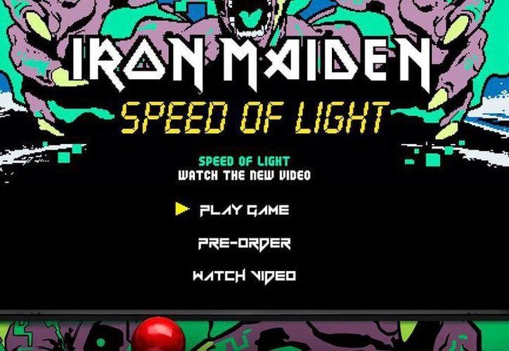 Captura de pantalla de la portada del videojuego Speed of Light que el grupo musical Iron Maiden lanzó este viernes. (YouTube)