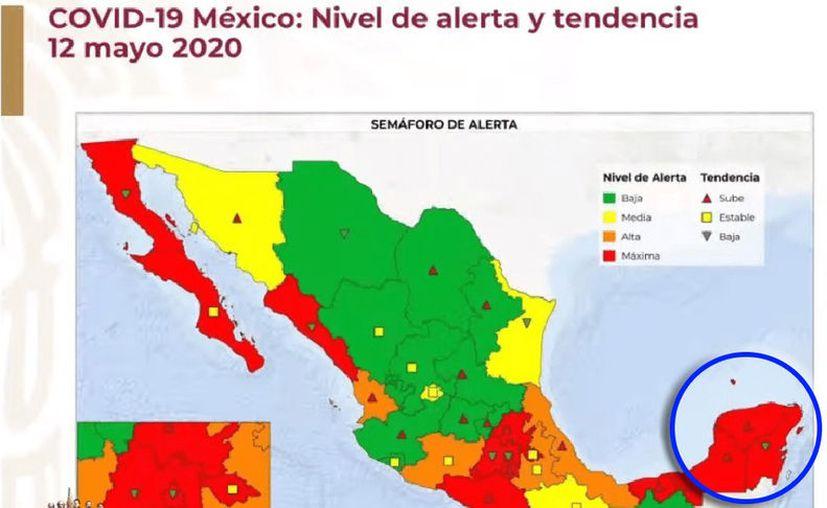 Durante la conferencia del Gobierno Federal se presentó un mapa que presenta la semaforización de los estados ante el coronavirus.