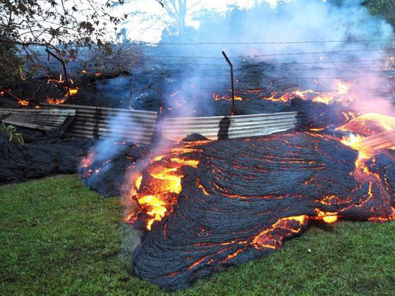 Mohala Street in Leiliani Estates near the town of Pahoa on Hawaii's Big Island that is blocked by a lava flow. (Internet)
