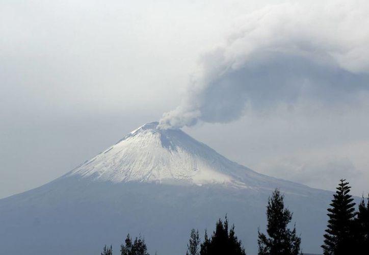 Vista del volcán Popocatépetl nevado al expulsar una fumarola de vapor y gas acompañada de emisiones de ceniza, el semáforo de alerta continua en amarillo fase dos. (Notimex)