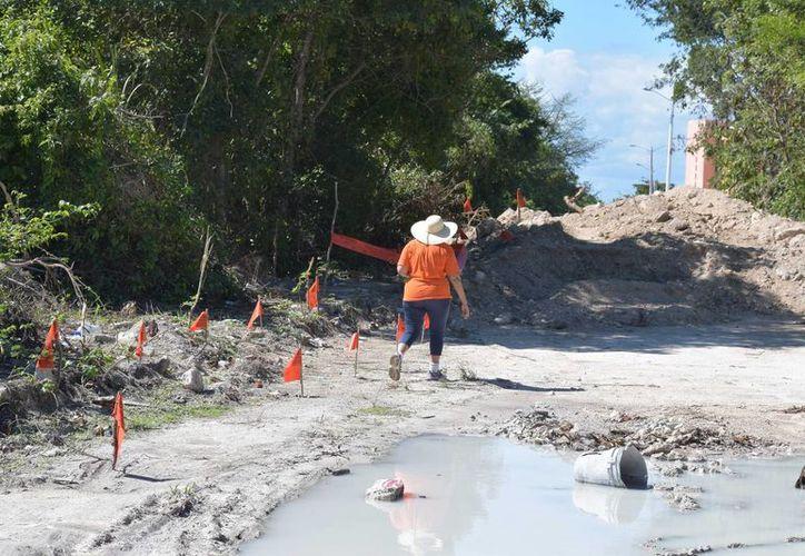 Ya se ha extraído por lo menos un metro del terreno en un tramo de aproximadamente dos kilómetros para el camino a la 'Laguna Ciega' de Cozumel. (Gustavo Villegas/SIPSE)