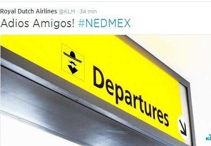 Royal Dutch Airlines hizo mofa del dramático adiós de la Selección Mexicana de futbol del Mundial. (Foto tomada de Milenio La Afición)