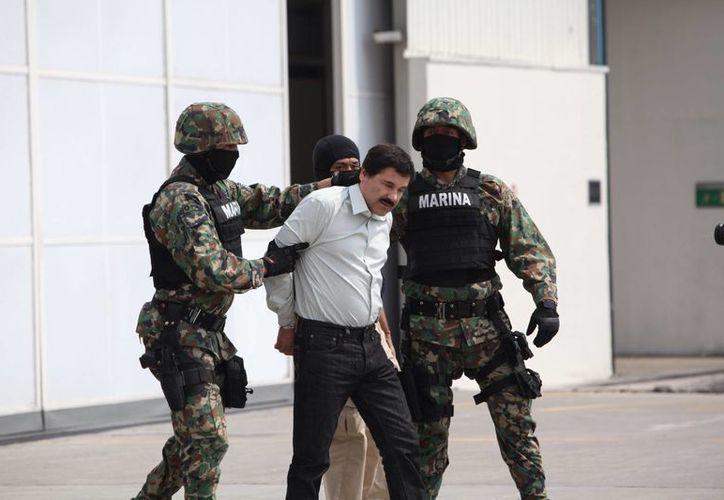 <i>El Chapo</i> fue arrestado por elementos especiales de la Marina en Mazatlán. En la gráfica, poco antes de ser trasladado en helicóptero federal. (Agencias)