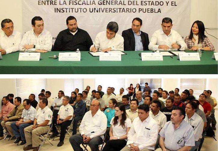 Este viernes la Fiscalía General del Estado (FGE) y el Instituto Universitario Puebla (IUP) firmaron un convenio para que 75 agentes del organismo puedan cursar la educación superior. (Facebook: FGE)