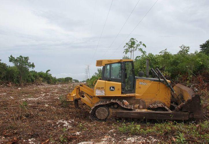 Las maquinarias se han hecho presentes en la avenida Las Torres o Cancún. (Consuelo Javier/SIPSE)