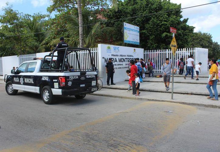 La Policía Municipal vigilará las escuelas en las vacaciones. (Octavio Martínez/SIPSE)