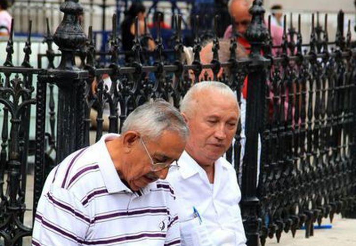 En la imagen, dos personas de la tercera edad en el atrío de la Catedral de Mérida. Alumnos estudiaran acerca de los cuidados a los ancianos en la nueva carrera de la UMSA. (Milenio Novedades)