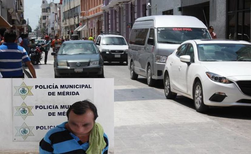 En el recuadro se aprecia al detenido José H. U.P., de 47 años de edad,  quien habría rayado con groserías 13 vehículos en el centro de Mérida. (Ayuntamiento)