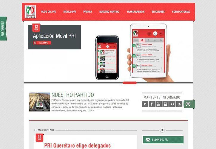 Al descargar la aplicación los usuarios tendrán concentradas todas las redes sociales oficiales del partido. (pri.org.mx/)
