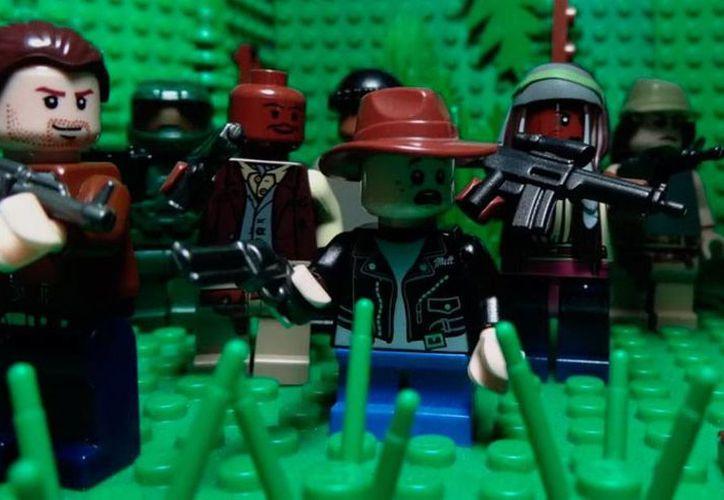 Captura de pantalla de la animación creada por un usuario de  YouTube de la quinta temporada de la serie Los Muertos Vivientes (The Walking Dead) con piezas de Lego. (kristo499)