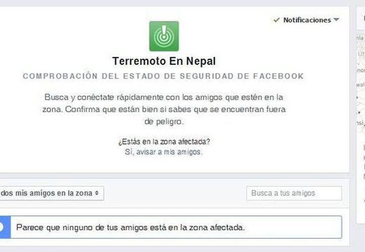 Con Facebook Safety Check los usuarios pueden informar sobre el estado de las víctimas del sismo en Nepal. (Facebook.com)