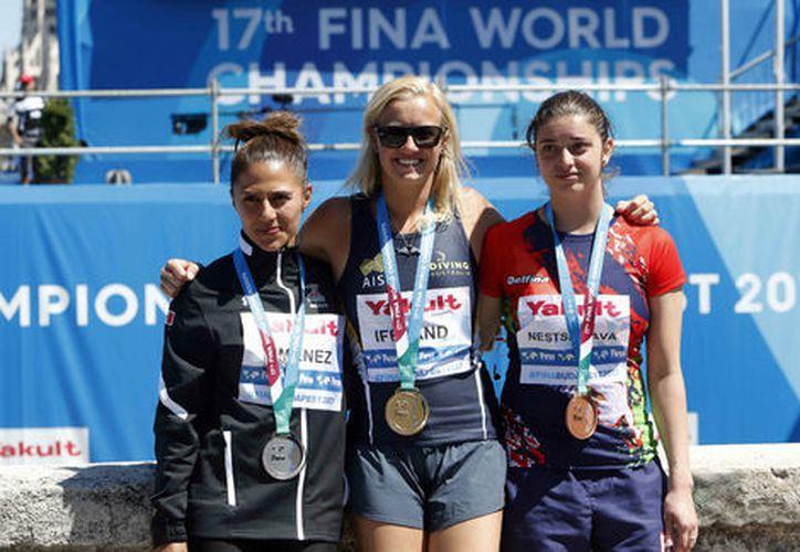 La clavadista altura mexicana Adriana Jiménez se llevó la medalla de plata. (Milenio).