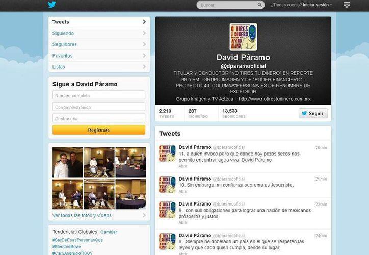 Timeline de la cuenta de Twitter del periodista David Páramo, actualizada hace unos momentos.