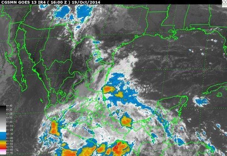 """Imagen de satélite que muestra una zona de inestabilidad tras el paso de tormenta tropical """"Trudy"""", en el Pacífico mexicano. (Foto: Conagua)"""