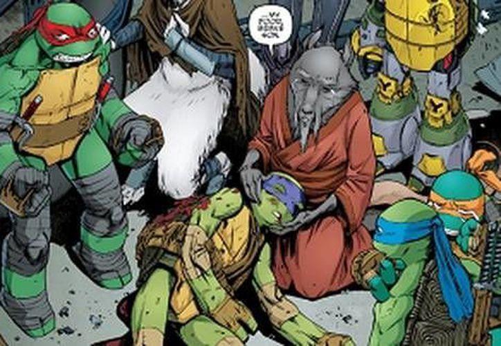 Donatello pierde la vida durante un combate contra los villanos Bebop y Rocksteady. (IDW)