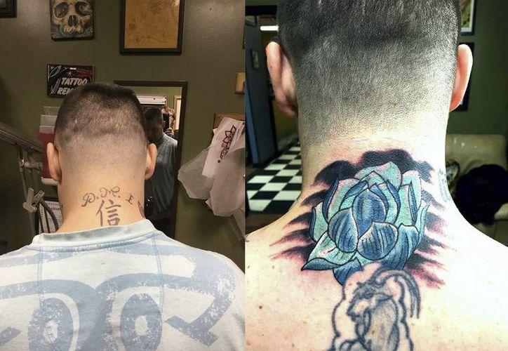 Imagen de uno de clientes de Southside Studio, el cual tenía el tatuaje de la banda  Dead Man Incroporated DMI que es de una pandilla que predomina en varias prisiones de EU. (acebook.com/Bmoretattoo)