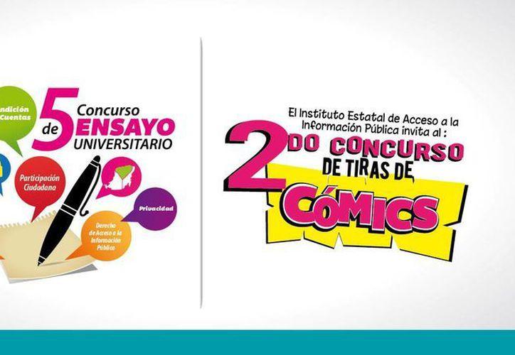 Carteles promocionales de los concursos a que convoca el Instituto Estatal de Acceso a la Información Pública. (Cortesía)
