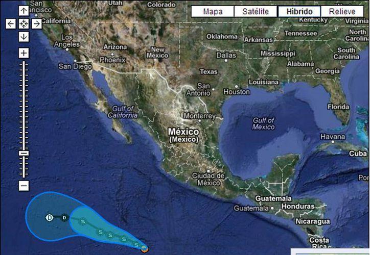 Segob mantiene alerta azul, de peligro mínimo, únicamente en la Isla del Socorro, Colima, Jalisco, Michoacán y Guerrero. (Captura de pantalla)