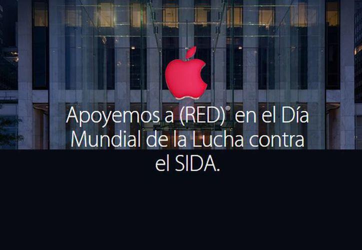 En el Día Mundial de la Lucha contra el SIDA, la empresa Apple invita a los usuarios a apoyar a RED.  (Captura de pantalla apple.com)