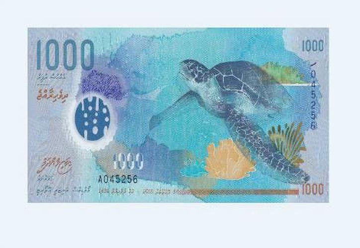 Billete de Islas Maldivas. En febrero se sabrá cuál es el mejor billete del mundo, según  la Sociedad Internacional de Billetes Bancarios. (theibns.org)