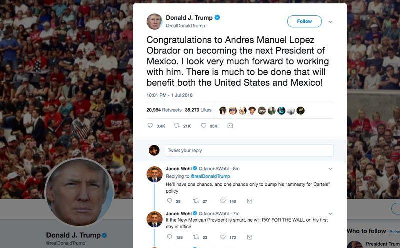 Mensaje de Donald Trump para López Obrador en su red social.