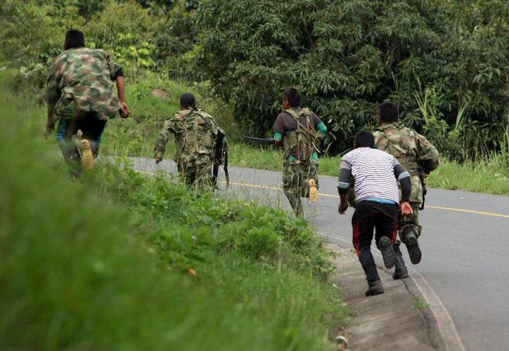 Miembros de las Fuerzas Armadas Revolucionarias de Colombia (FARC) corren después de disparar en la vía que de Caloto conduce a Toribio, Cauca, Colombia. (Archivo/EFE)