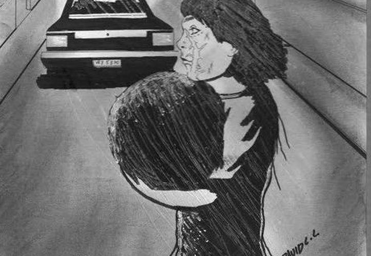 """Representación del fantasma de la """"niña y su pelota"""" que ven en la calles del fraccionamiento Vergel de Mérida. (Jorge Moreno/SIPSE)"""