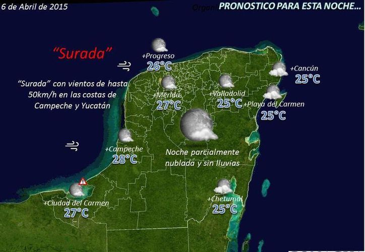 El pronóstico del clima para esta noche en la Península de Yucatán. (Twitter/@ClimaYucatan)