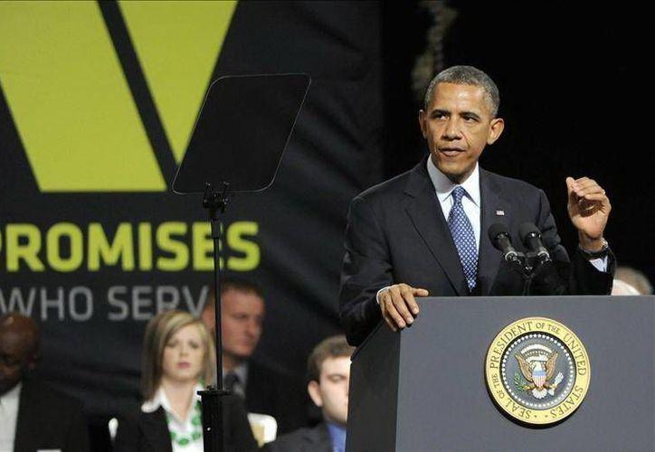 El presidente de Estados Unidos habla  en la convención anual de veteranos de guerra. (EFE)