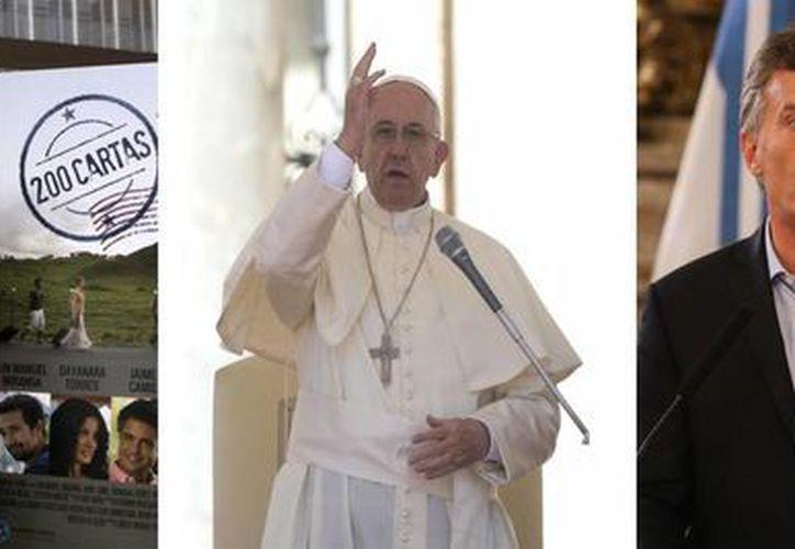 De izquierda a derecha: el cineasta mexicano Alejandro González Iñárritu; el actor puertorriqueño Lin-Manuel Miranda; el papa Francisco, y el presidente argentino, Mauricio Macri, a quienes la prestigiosa revista Time incluyó en su lista de los 100 personajes más influyentes del año. (EFE/Archivo)