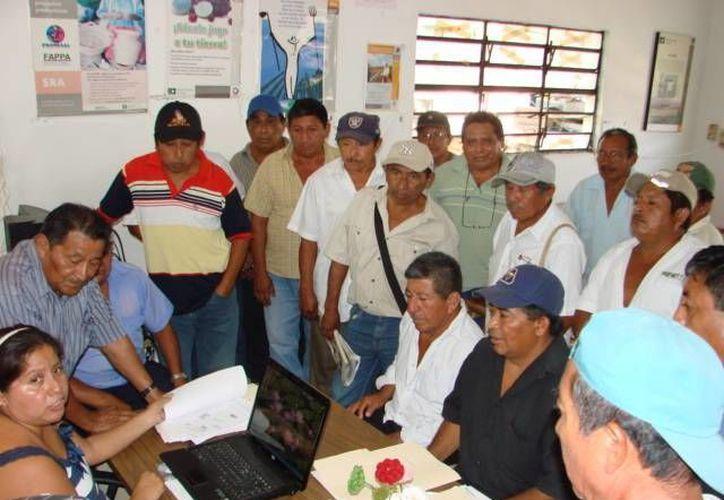 Ejidatarios se presentaron en la Procuraduría Agraria para iniciar con los trámites que lleven a la corrección de sus documentos. (Manuel Salazar/SIPSE)