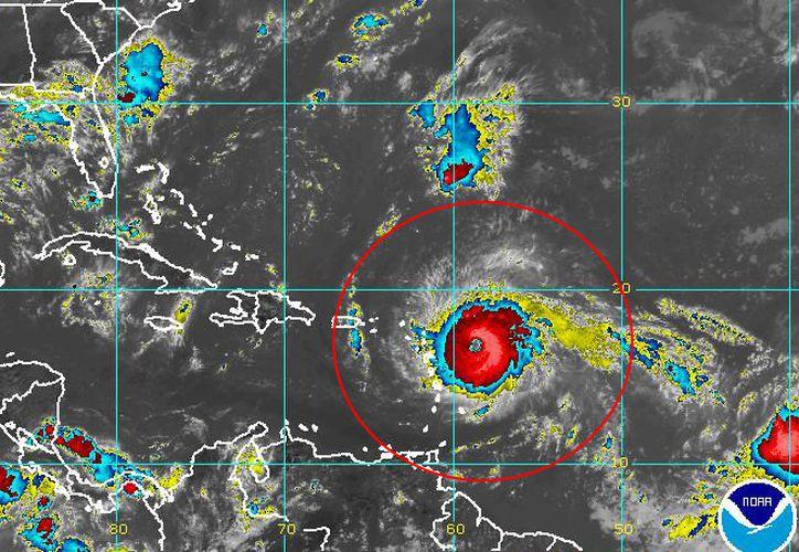 La ubicación actual del huracán Irma, que es categoría 5. (Noaa)