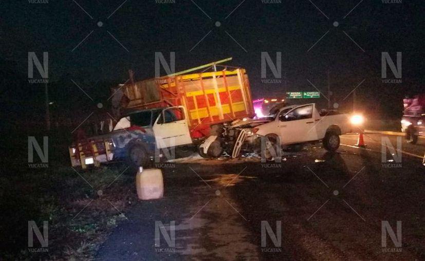 Trágico accidente en la Mérida-Campeche.(Foto: Novedades Yucatán)