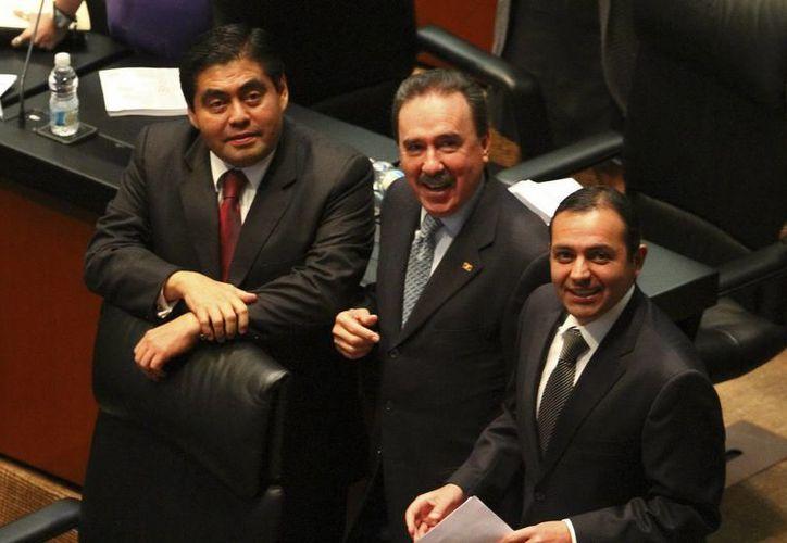 Los legisladores Miguel Barbosa, Emilio Gamboa y Ernesto Cordero. (Archivo/Notimex)