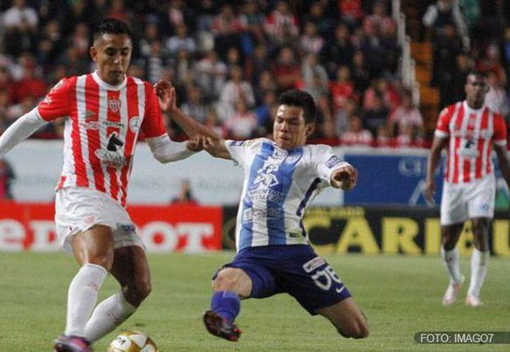 Pachuca perdió contra Necaxa esta noche en cuartos de final de liguilla, en Aguascalientes. Falta el partido de vuelta. (futboltotal.com)