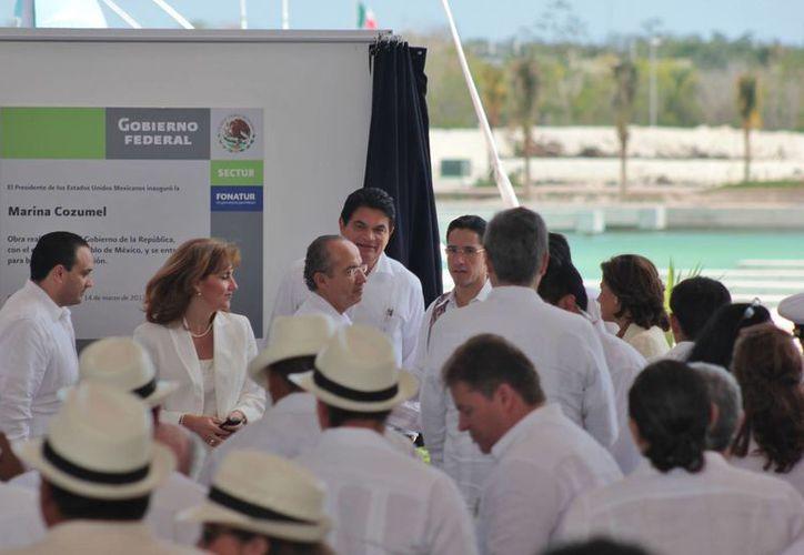 Inauguración de la Marina Cozumel en marzo del 2012, pese a que no se habían concluido los trabajos. (Gustavo Villegas/SIPSE)