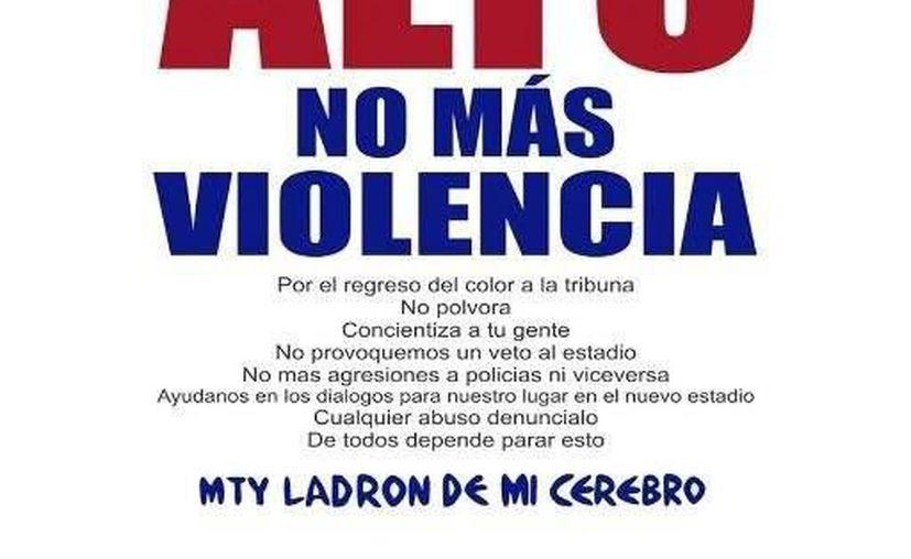 La porra del Monterrey condenó desde su cuenta de Twitter los hechos violentos sucedidos en el futbol mexicano. (@adiccionrayados)