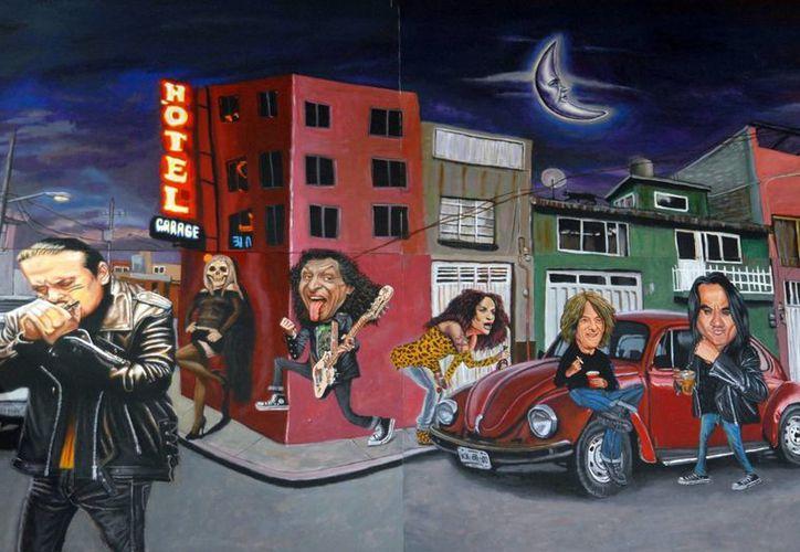 En el mural se ve demabulando por la calzada de Tlalpan a Ely Guerra, Roco y Pato de la Maldita Vecindad, Julieta Venegas, Saúl de Caifanes y Alex Lora. (metro.df.gob.mx)