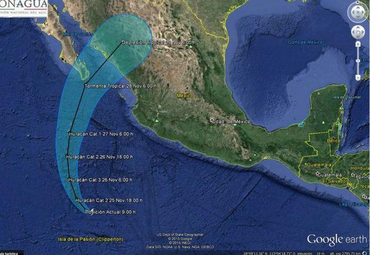 Imagen publicada por Conagua en su cuenta de Twitter sobre la trayectoria del huracán 'Sandra'. (twitter.com/conagua_clima)