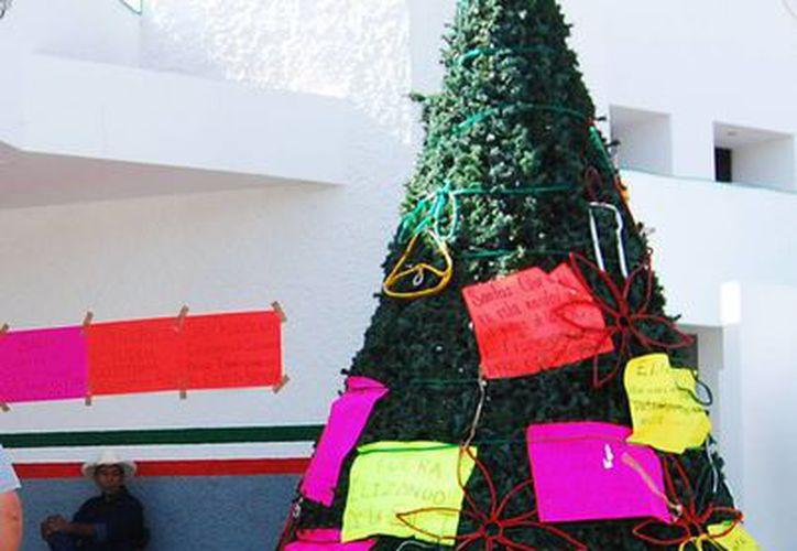 Los ejidatarios bacalarenses, que toman las instalaciones , adornaron con pancartas el árbol de navidad de la secretaría. (Harold Alcocer/SIPSE)