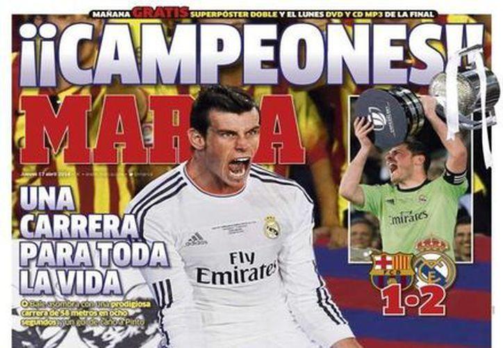 El periódico Marca resaltó el gol de Bale que le dió el triunfo a los merengues. (Foto: Agencias)