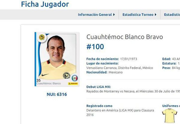 Cuauhtémoc Blanco fue registrado en Liga MX con América y será parte del equipo en la jornada 9 frente a Monarcas Morelia.(Captura de pantalla)