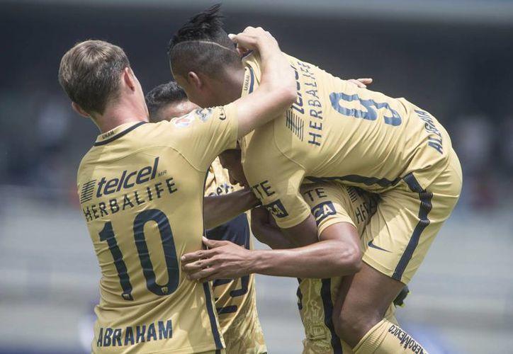 Pumas de la UNAM derrotó con contudente marcador de 5-3 a Rayados de Monterrey, en Ciudad Universitaria. (AP/Christian Palma)